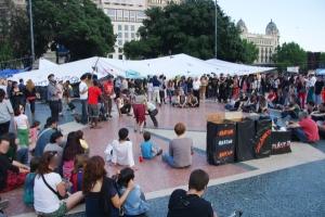 Photographie des Indignés Plaça de Catalunya à Barcelone