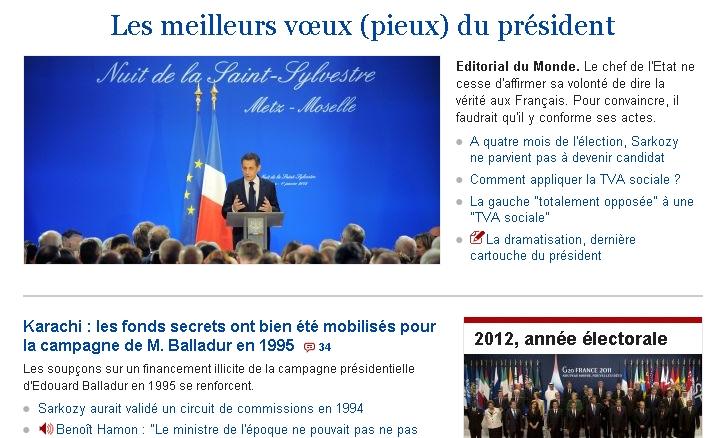 Une du Monde 2 Janvier 2012