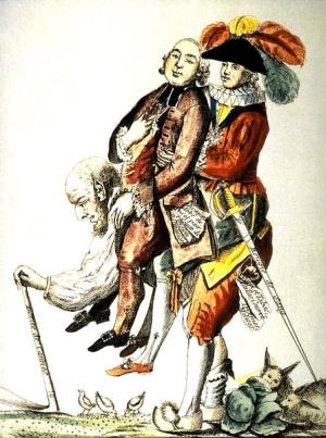 Le Tiers-État portant le Clergé et la Noblesse sur son dos