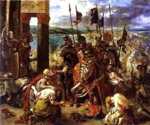 Entrée des croisés dans Constantinople, peinture d'Eugene Delacroix