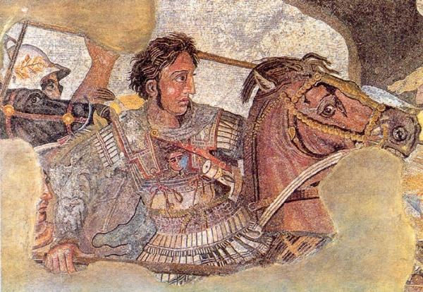 Alexandre le Grand sur son cheval Bucéphale, détail de la mosaïque romaine de Pompéi représentant la bataille d'Issos, musée national archéologique de Naples